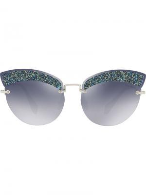 Солнцезащитные очки в оправе кошачий глаз Miu Eyewear. Цвет: синий