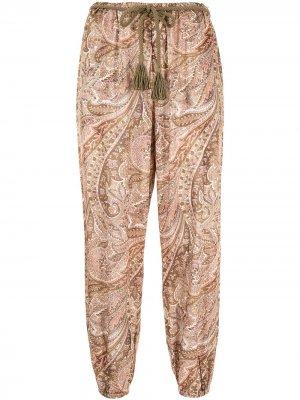 Зауженные брюки Brighton Zimmermann. Цвет: коричневый