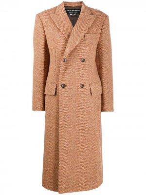 Пальто с узором в елочку Junya Watanabe. Цвет: оранжевый
