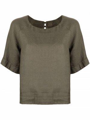 Блузка с короткими рукавами 120% Lino. Цвет: зеленый
