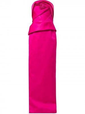 Длинное платье без бретелей Marchesa. Цвет: розовый