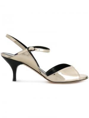 Open-toe ankle sandals Nina Ricci. Цвет: металлик