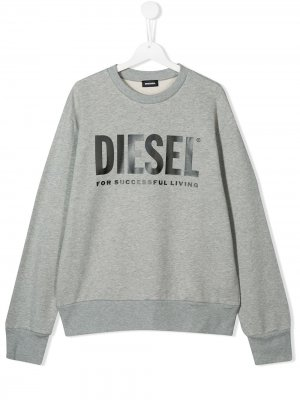 Толстовка с логотипом Diesel Kids. Цвет: серый