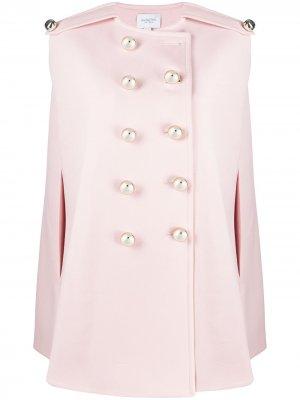 Двубортное пальто-кейп Giambattista Valli. Цвет: розовый