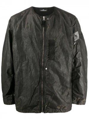 Куртка на молнии с жатым эффектом Stone Island Shadow Project. Цвет: зеленый
