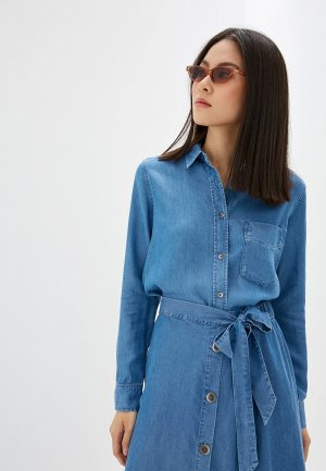 Рубашка джинсовая Mango. Цвет: синий