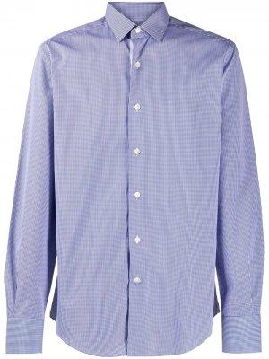 Рубашка в мелкую клетку LANVIN. Цвет: синий