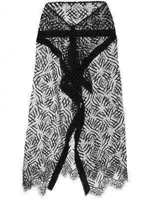 Прозрачная кружевная юбка Michelle Mason. Цвет: черный