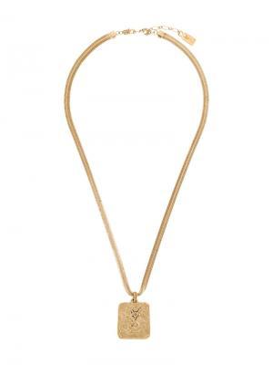 Ожерелье с подвеской-логотипом Yves Saint Laurent Vintage. Цвет: желтый