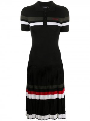 Трикотажное платье с воротником поло Dsquared2. Цвет: черный