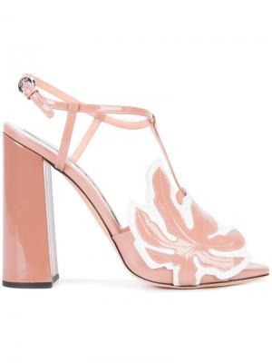 Босоножки с открытым носком Rochas. Цвет: розовый и фиолетовый