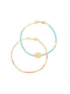 Набор Wave Chaser из трех позолоченных браслетов Anni Lu. Цвет: золотистый