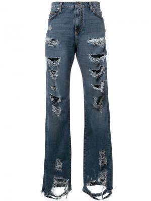 Прямые состаренные джинсы Faith Connexion. Цвет: синий