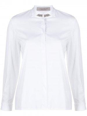 Рубашка с длинными рукавами и декорированным воротником D.Exterior. Цвет: белый