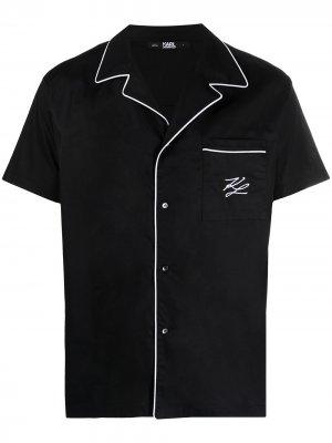 Пижамная рубашка с контрастной отделкой Karl Lagerfeld. Цвет: черный