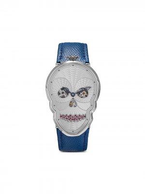 Наручные часы Petit Skull в форме черепа с бриллиантами Fiona Kruger. Цвет: голубой/белый/серебристый