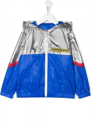 Легкая куртка в стиле колор-блок yporqué. Цвет: синий