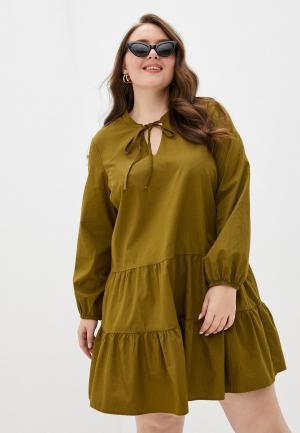 Платье Vero Moda Curve. Цвет: хаки