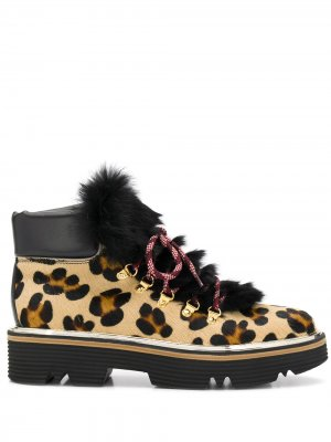 Ботинки с принтом и вставками из искусственного меха Pollini. Цвет: коричневый