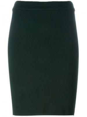 Классическая юбка-карандаш Alaïa Vintage. Цвет: зеленый