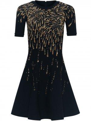 Платье мини с пайетками Oscar de la Renta. Цвет: синий