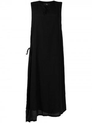 Ys платье-трапеция макси с завязками сбоку Y's. Цвет: черный