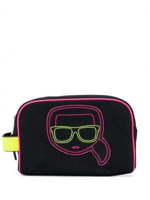 Косметичка K/Ikonik с неоновой вставкой Karl Lagerfeld. Цвет: черный