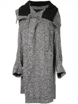 Ys клетчатое пальто оверсайз Y's. Цвет: серый