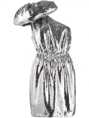 Короткое платье с большим бантом и пайетками Nº21. Цвет: золотистый