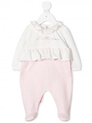 Комплект для новорожденного с логотипом и пайетками Miss Blumarine. Цвет: розовый