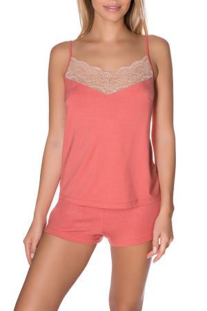 Шорты пижамные ROSE&PETAL HOMEWEAR. Цвет: коралловый