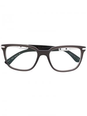 Очки с квадратной оправой Bulgari. Цвет: серый