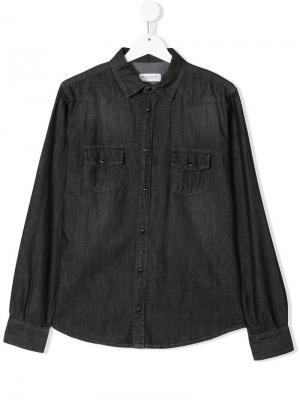 Джинсовая рубашка TEEN Paolo Pecora Kids. Цвет: серый