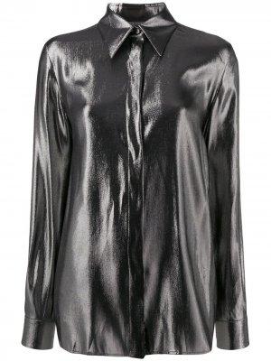 Рубашка с эффектом металлик Alberta Ferretti. Цвет: серебристый