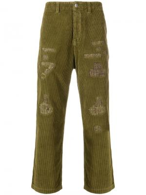 Distressed corduroy trousers Prps. Цвет: зеленый