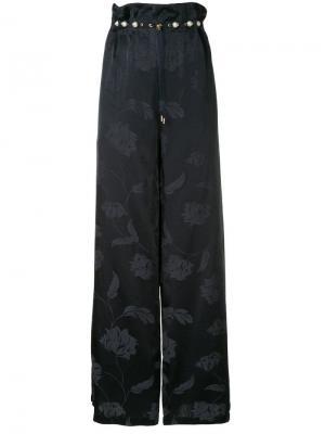 Широкие брюки с цветочным принтом Mother Of Pearl. Цвет: черный