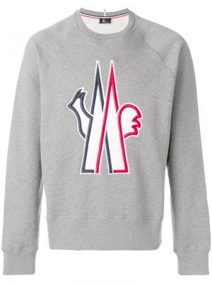 Классический свитер с логотипом Moncler Grenoble. Цвет: серый