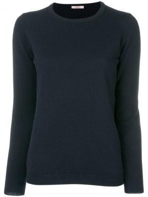 Кашемировый джемпер с круглым вырезом Liska. Цвет: синий