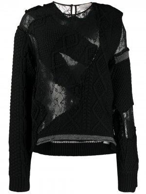 Джемпер с круглым вырезом и эффектом потертости Preen By Thornton Bregazzi. Цвет: черный