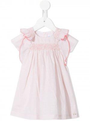 Платье с оборками и вышивкой Tartine Et Chocolat. Цвет: розовый
