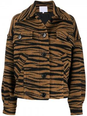 Фактурная куртка с зебровым принтом Lala Berlin. Цвет: коричневый