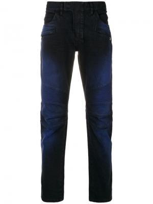 Прямые джинсы в рубчик Balmain. Цвет: синий