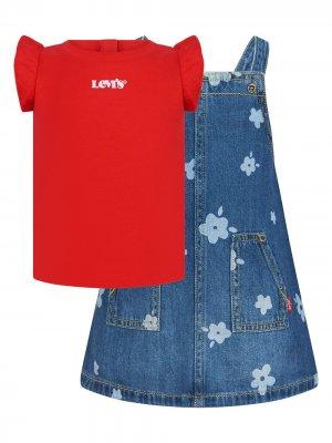 Levis Kids комплект из футболки и сарафана Levi's. Цвет: красный