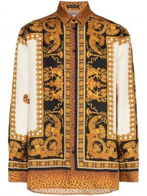 Шелковая рубашка с принтом Барокко Versace. Цвет: коричневый