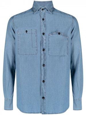 Джинсовая рубашка на пуговицах Glanshirt. Цвет: синий
