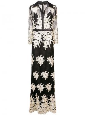 Удлиненное платье с цветочным узором Badgley Mischka. Цвет: черный