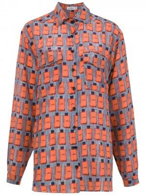 Printed silk shirt Amir Slama. Цвет: синий