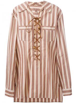 Полосатая рубашка-туника со шнуровкой Romeo Gigli Vintage. Цвет: нейтральные цвета