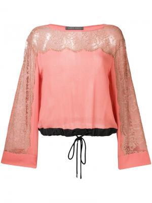 Lace inserts drawstring blouse Alberta Ferretti. Цвет: розовый