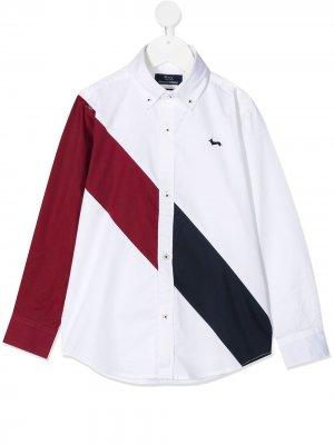 Рубашка с диагональной полоской длинными рукавами Harmont & Blaine Junior. Цвет: белый
